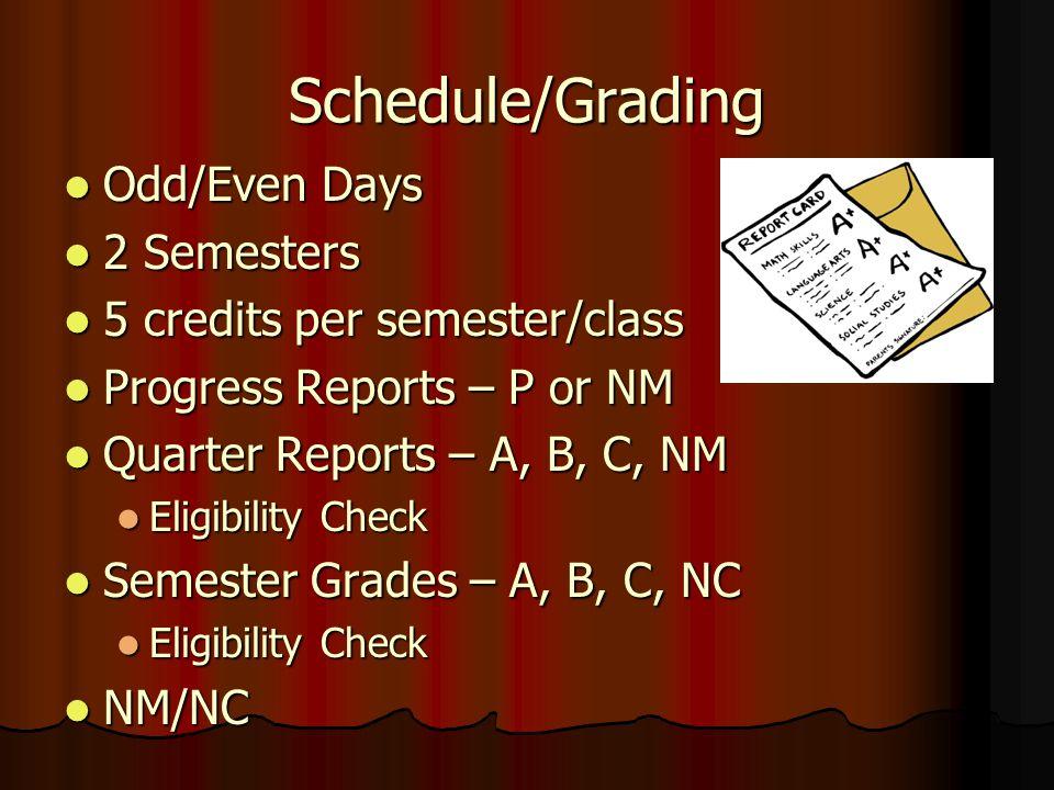 Schedule/Grading Odd/Even Days Odd/Even Days 2 Semesters 2 Semesters 5 credits per semester/class 5 credits per semester/class Progress Reports – P or NM Progress Reports – P or NM Quarter Reports – A, B, C, NM Quarter Reports – A, B, C, NM Eligibility Check Eligibility Check Semester Grades – A, B, C, NC Semester Grades – A, B, C, NC Eligibility Check Eligibility Check NM/NC NM/NC