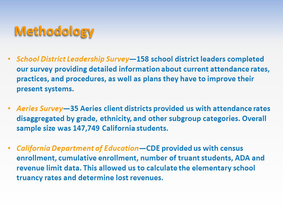 Methodology Methodology School District Leadership Survey—158 school district leaders completed our survey providing detailed information about curren