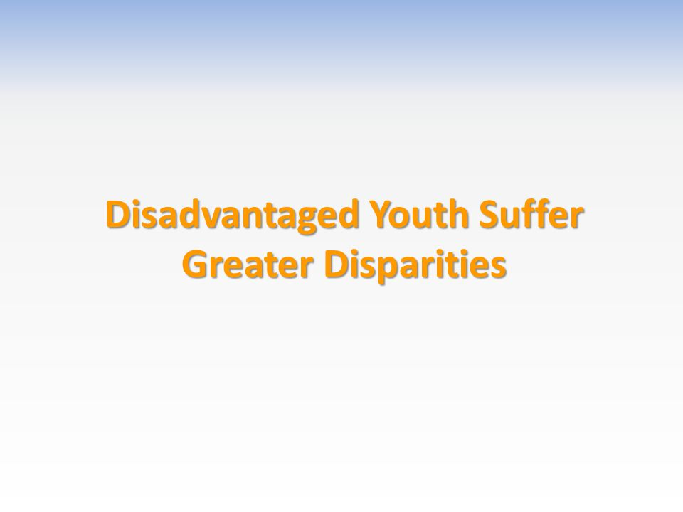 Disadvantaged Youth Suffer Greater Disparities
