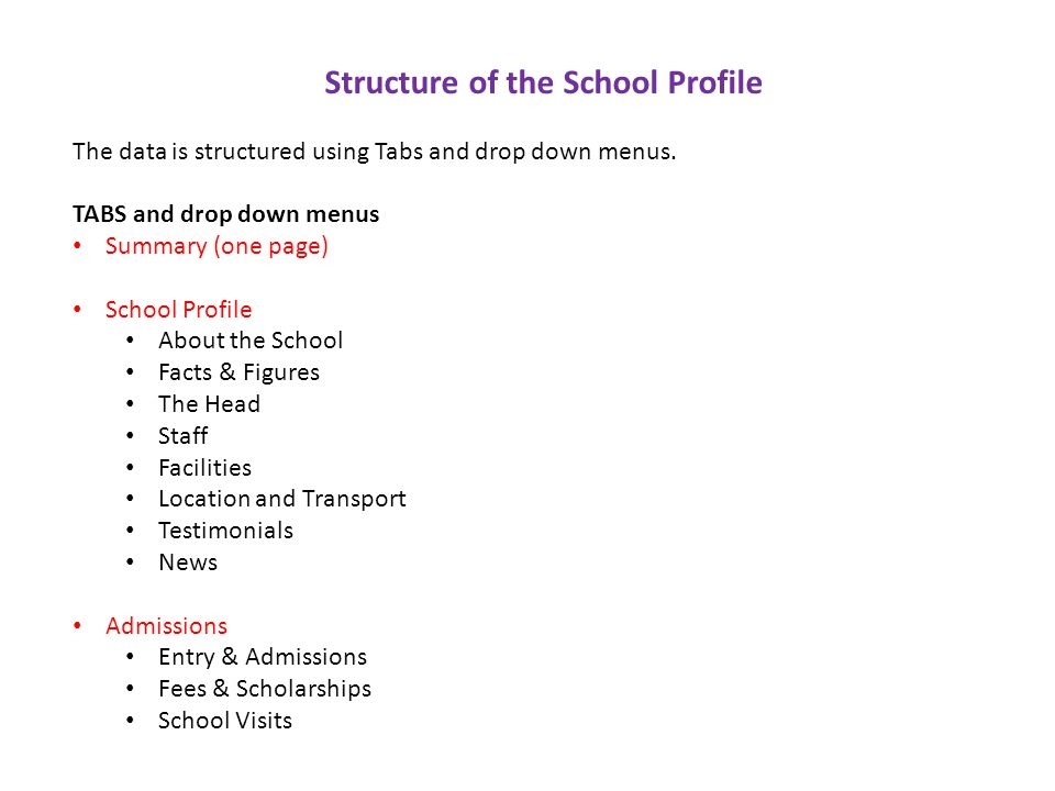 Structure of the School Profile The data is structured using Tabs and drop down menus.
