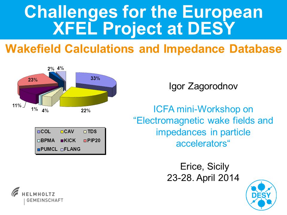 Wakefield Calculations and Impedance Database Challenges for the European XFEL Project at DESY Igor Zagorodnov ICFA mini-Workshop on Electromagnetic wake fields and impedances in particle accelerators Erice, Sicily 23-28.
