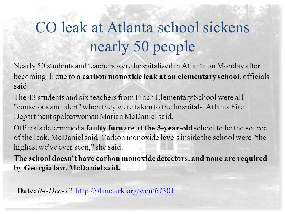 CO leak at Atlanta school sickens nearly 50 people Nearly 50 students and teachers were hospitalized in Atlanta on Monday after becoming ill due to a carbon monoxide leak at an elementary school, officials said.