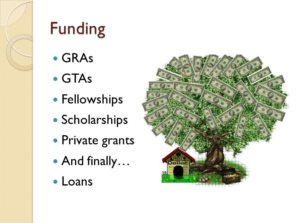 Funding GRAs GTAs Fellowships Scholarships Private grants And finally… Loans