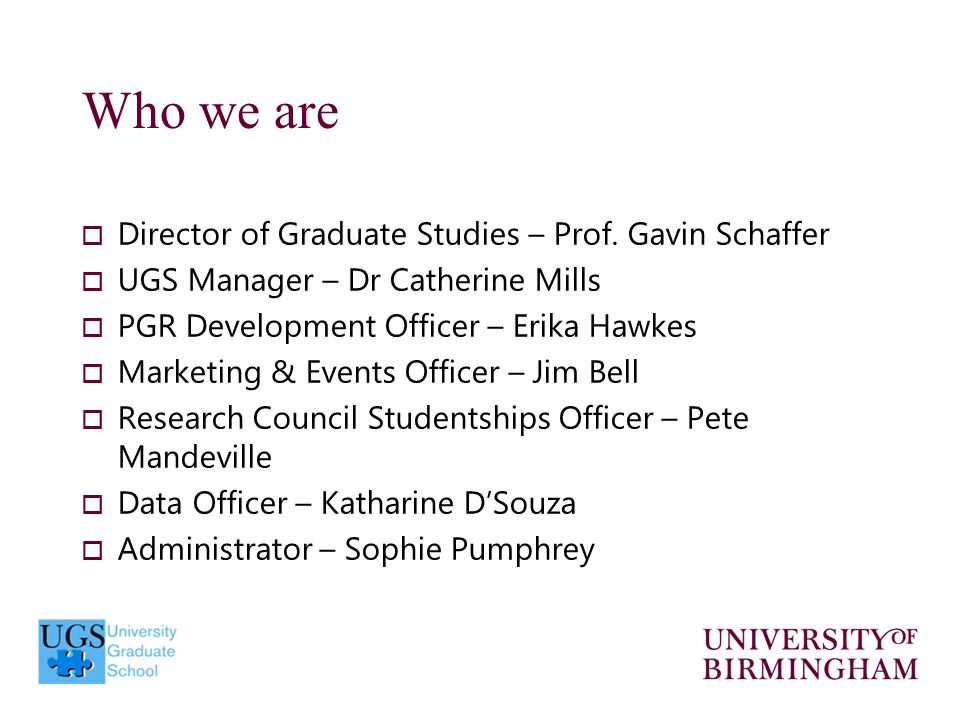  Director of Graduate Studies – Prof.