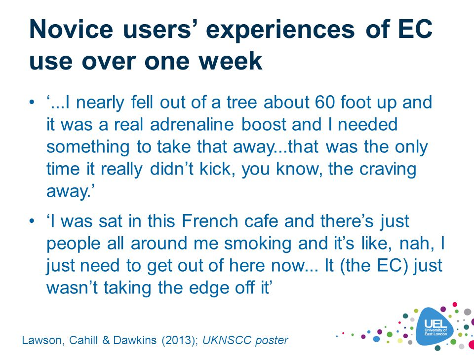 Novice users' experiences of EC use over one week '...I nearly fell out of a tree about 60 foot up and it was a real adrenaline boost and I needed som