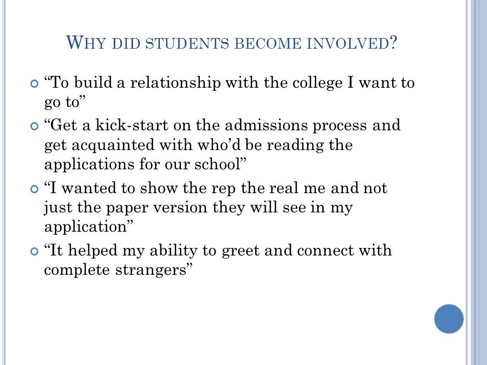 W HY DID STUDENTS BECOME INVOLVED .