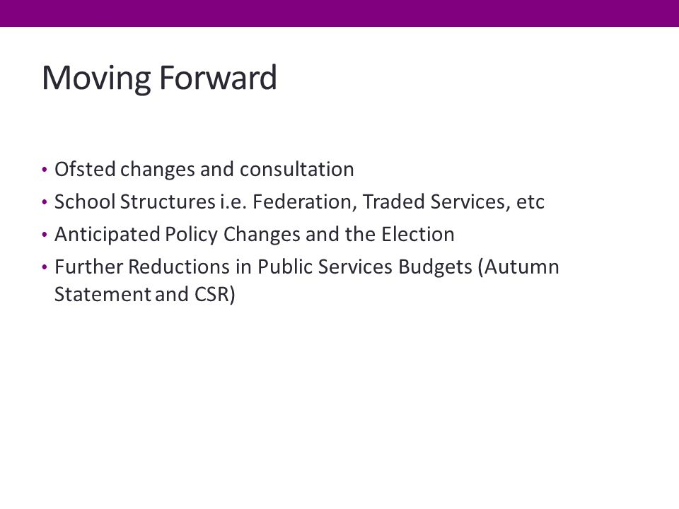 Moving Forward Ofsted changes and consultation School Structures i.e.