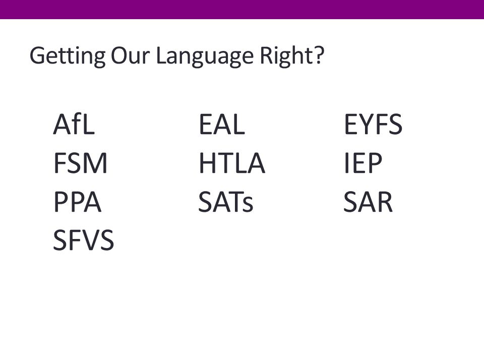 Getting Our Language Right AfL EALEYFS FSM HTLAIEP PPASATsSAR SFVS