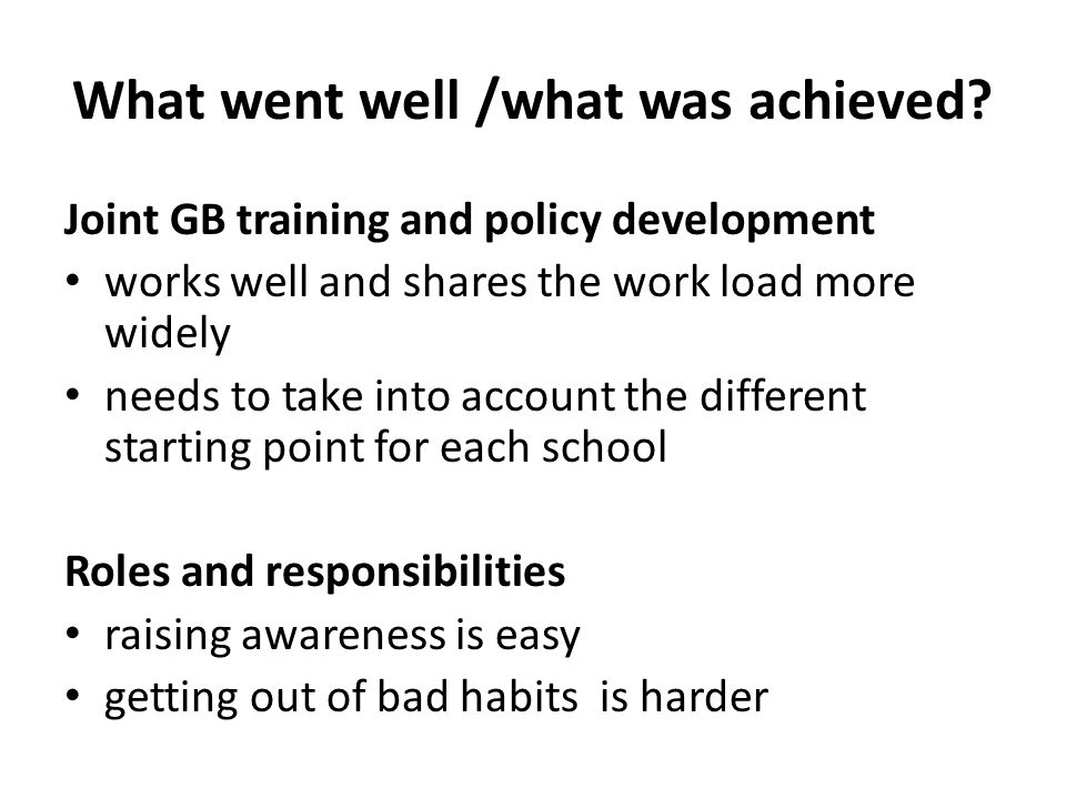 What went well /what was achieved.