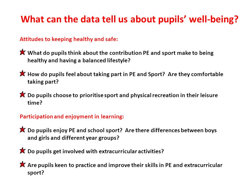 Attitudes to keeping healthy and safe: What do pupils think about the contribution PE and sport make to being healthy and having a balanced lifestyle.