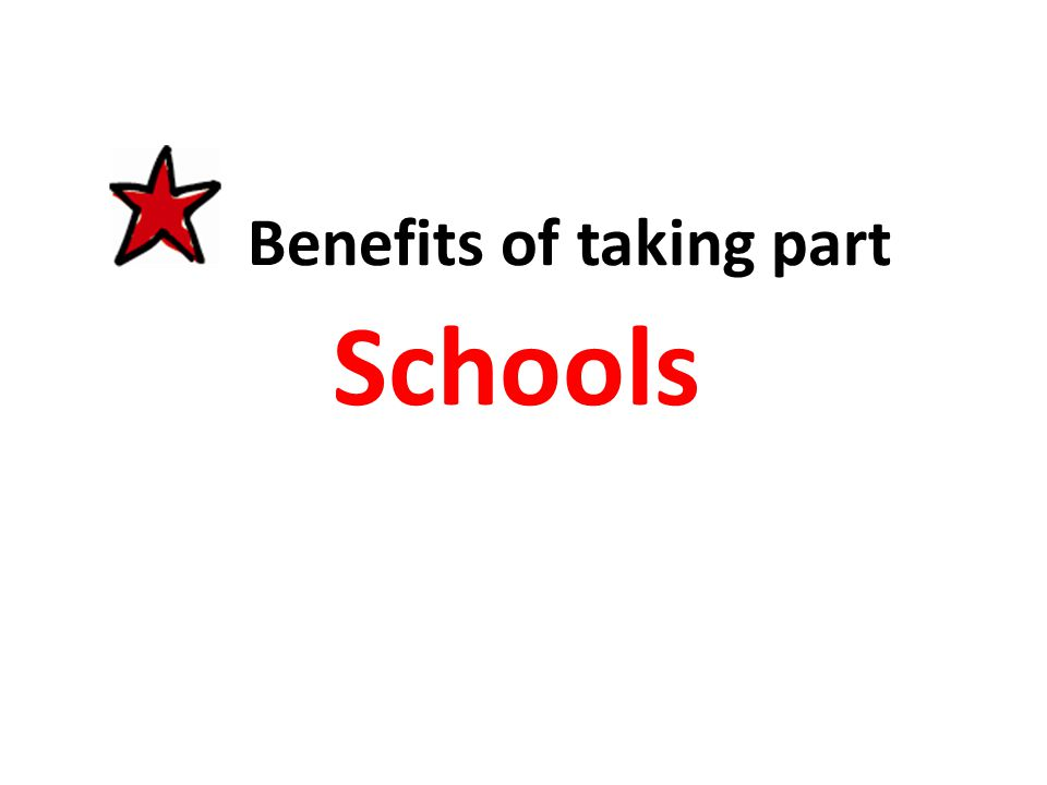 Benefits of taking part Schools