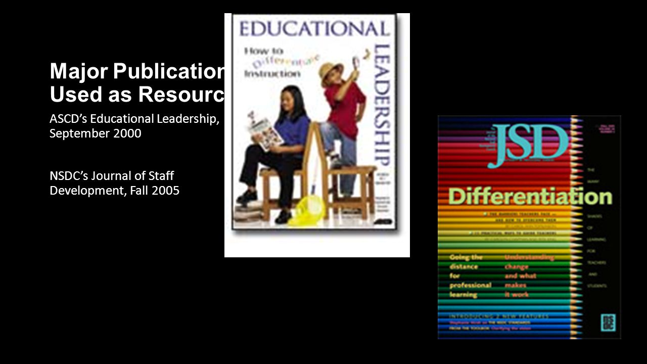 Major Publications Used as Resources ASCD's Educational Leadership, September 2000 NSDC's Journal of Staff Development, Fall 2005