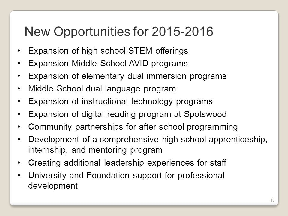 10 Expansion of high school STEM offerings Expansion Middle School AVID programs Expansion of elementary dual immersion programs Middle School dual language program Expansion of instructional technology programs Expansion of digital reading program at Spotswood Community partnerships for after school programming Development of a comprehensive high school apprenticeship, internship, and mentoring program Creating additional leadership experiences for staff University and Foundation support for professional development New Opportunities for 2015-2016