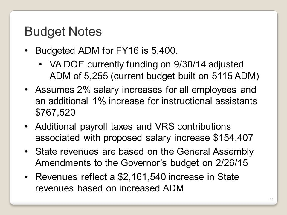 11 Budgeted ADM for FY16 is 5,400.