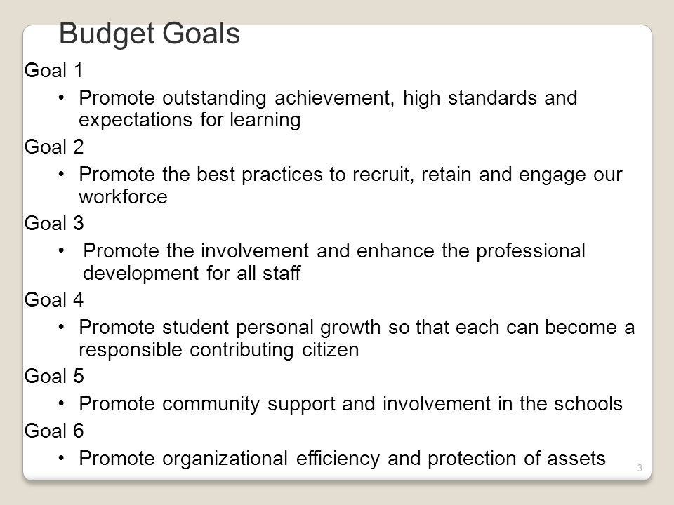 3 Budget Goals Goal 1 Promote outstanding achievement, high standards and expectations for learning Goal 2 Promote the best practices to recruit, retain and engage our workforce Goal 3 Promote the involvement and enhance the professional development for all staff Goal 4 Promote student personal growth so that each can become a responsible contributing citizen Goal 5 Promote community support and involvement in the schools Goal 6 Promote organizational efficiency and protection of assets