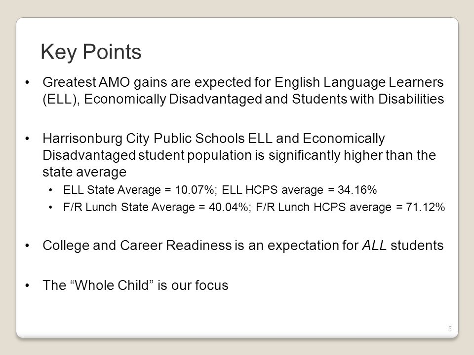 5 Greatest AMO gains are expected for English Language Learners (ELL), Economically Disadvantaged and Students with Disabilities Harrisonburg City Public Schools ELL and Economically Disadvantaged student population is significantly higher than the state average ELL State Average = 10.07%; ELL HCPS average = 34.16% F/R Lunch State Average = 40.04%; F/R Lunch HCPS average = 71.12% College and Career Readiness is an expectation for ALL students The Whole Child is our focus Key Points