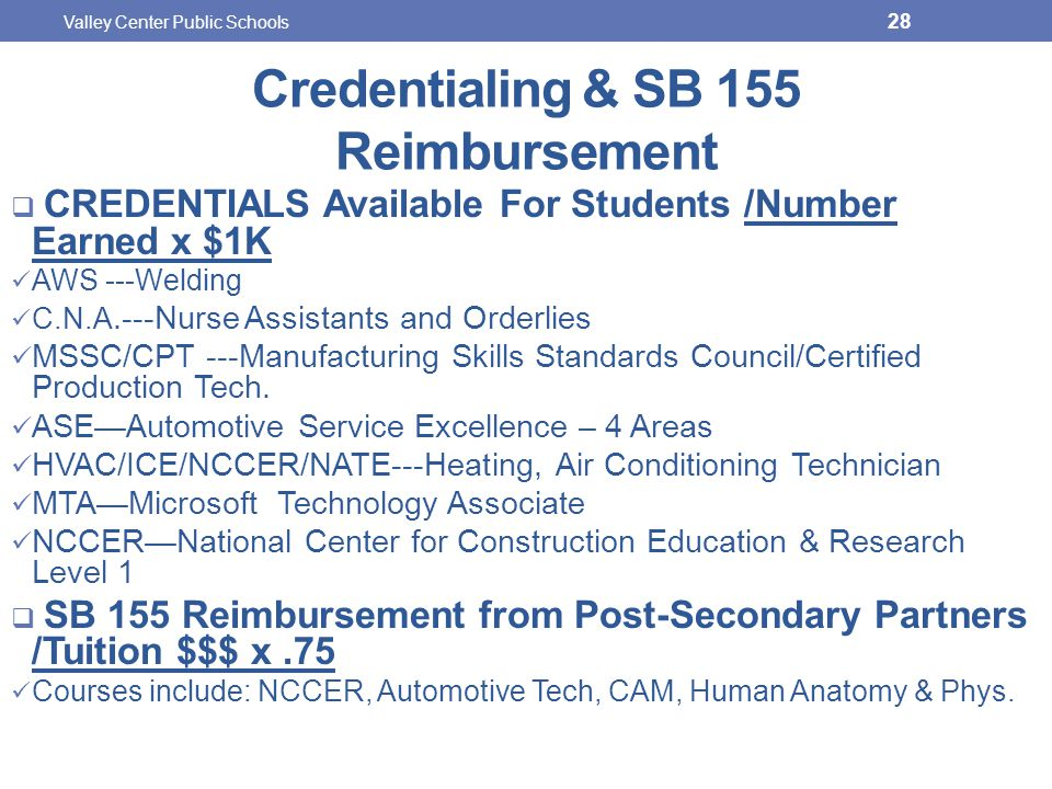 Credentialing & SB 155 Reimbursement  CREDENTIALS Available For Students /Number Earned x $1K AWS ---Welding C.N.A.---Nurse Assistants and Orderlies MSSC/CPT ---Manufacturing Skills Standards Council/Certified Production Tech.