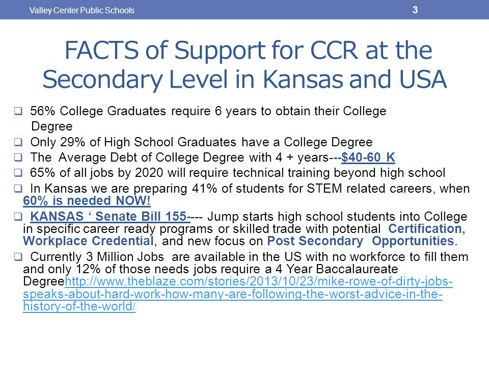 FACTS of Support for CCR at the Secondary Level in Kansas and USA  56% College Graduates require 6 years to obtain their College Degree  Only 29% of High School Graduates have a College Degree  The Average Debt of College Degree with 4 + years---$40-60 K  65% of all jobs by 2020 will require technical training beyond high school  In Kansas we are preparing 41% of students for STEM related careers, when 60% is needed NOW.