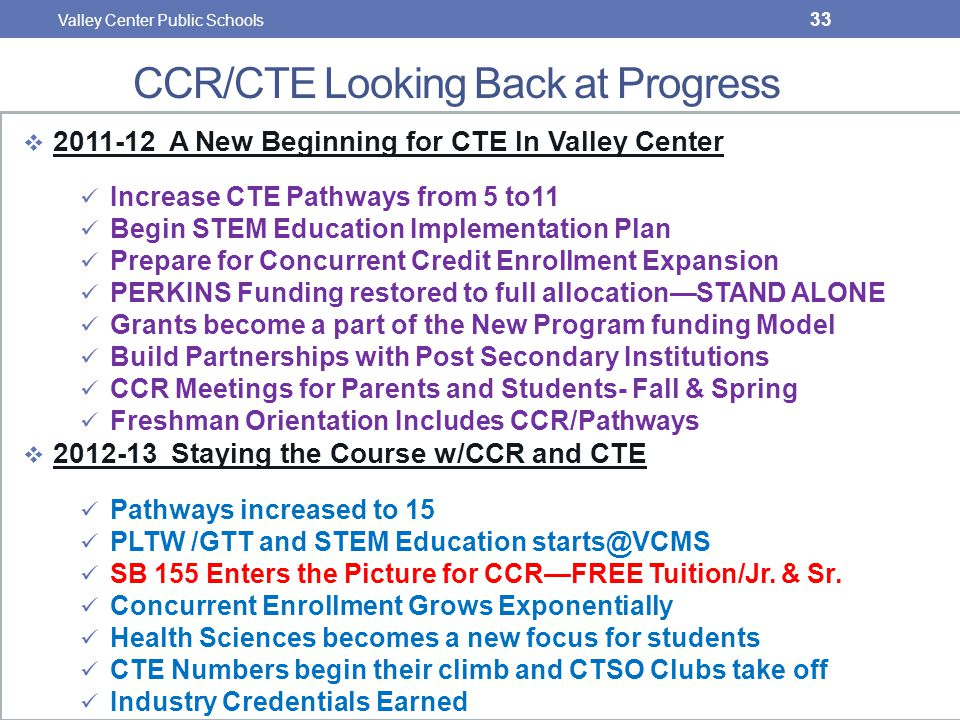 CCR/CTE Looking Back at Progress  2011-12 A New Beginning for CTE In Valley Center Increase CTE Pathways from 5 to11 Begin STEM Education Implementation Plan Prepare for Concurrent Credit Enrollment Expansion PERKINS Funding restored to full allocation—STAND ALONE Grants become a part of the New Program funding Model Build Partnerships with Post Secondary Institutions CCR Meetings for Parents and Students- Fall & Spring Freshman Orientation Includes CCR/Pathways  2012-13 Staying the Course w/CCR and CTE Pathways increased to 15 PLTW /GTT and STEM Education starts@VCMS SB 155 Enters the Picture for CCR—FREE Tuition/Jr.