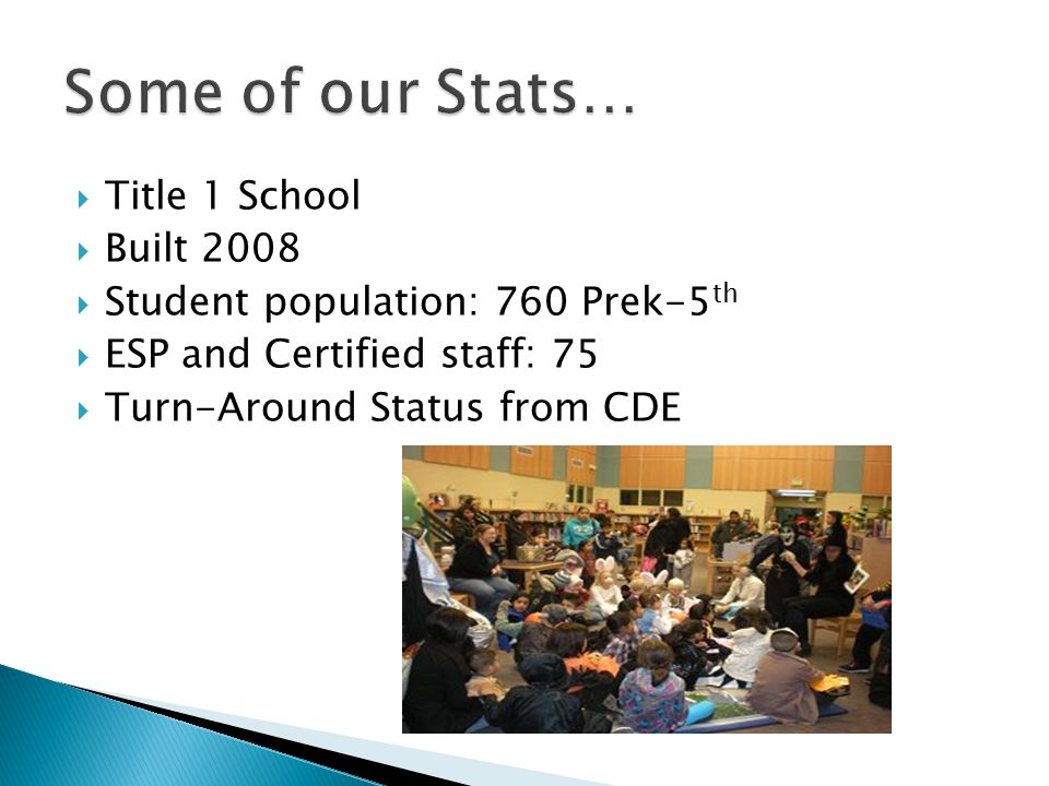  Title 1 School  Built 2008  Student population: 760 Prek-5 th  ESP and Certified staff: 75  Turn-Around Status from CDE