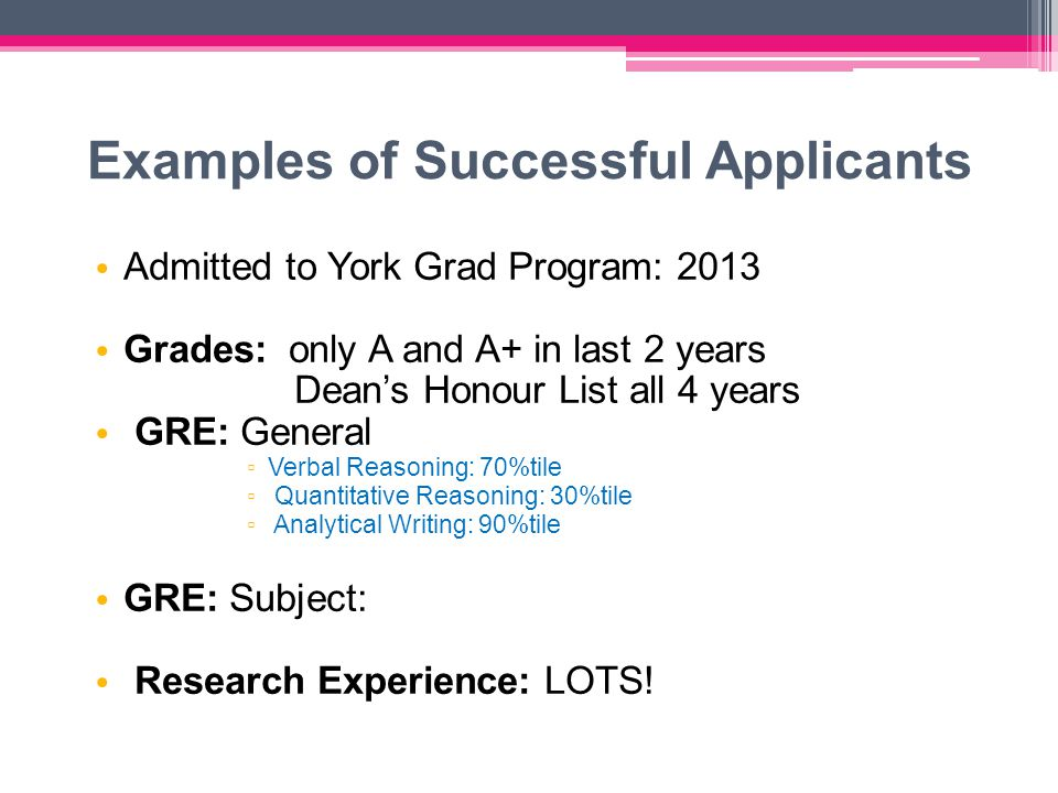 Examples of Successful Applicants Admitted to York Grad Program: 2013 Grades: only A and A+ in last 2 years Dean's Honour List all 4 years GRE: General ▫ Verbal Reasoning: 70%tile ▫ Quantitative Reasoning: 30%tile ▫ Analytical Writing: 90%tile GRE: Subject: Research Experience: LOTS!