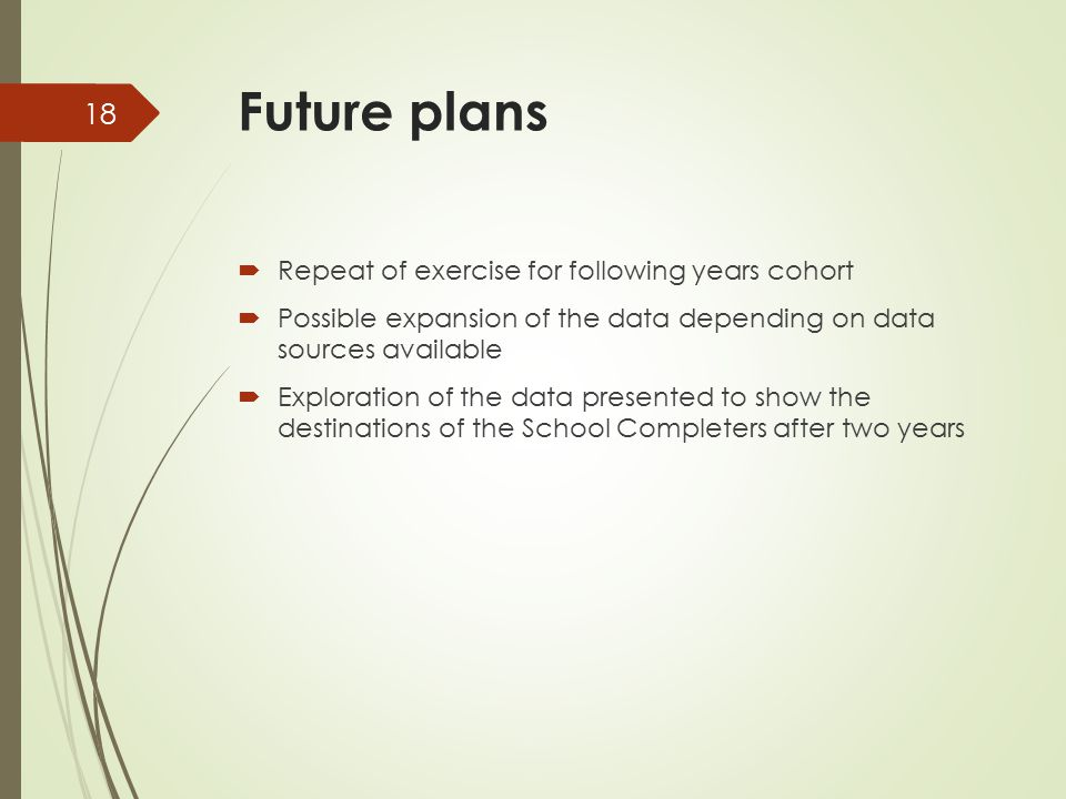 Future plans  Repeat of exercise for following years cohort  Possible expansion of the data depending on data sources available  Exploration of the data presented to show the destinations of the School Completers after two years 18