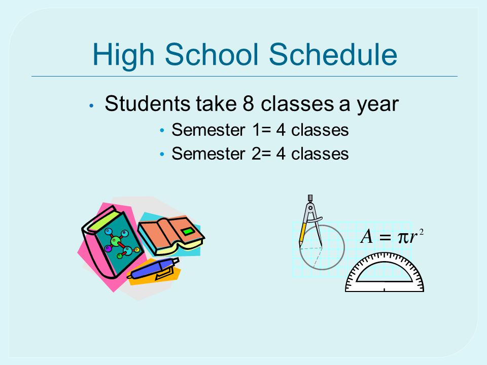 High School Schedule Students take 8 classes a year Semester 1= 4 classes Semester 2= 4 classes