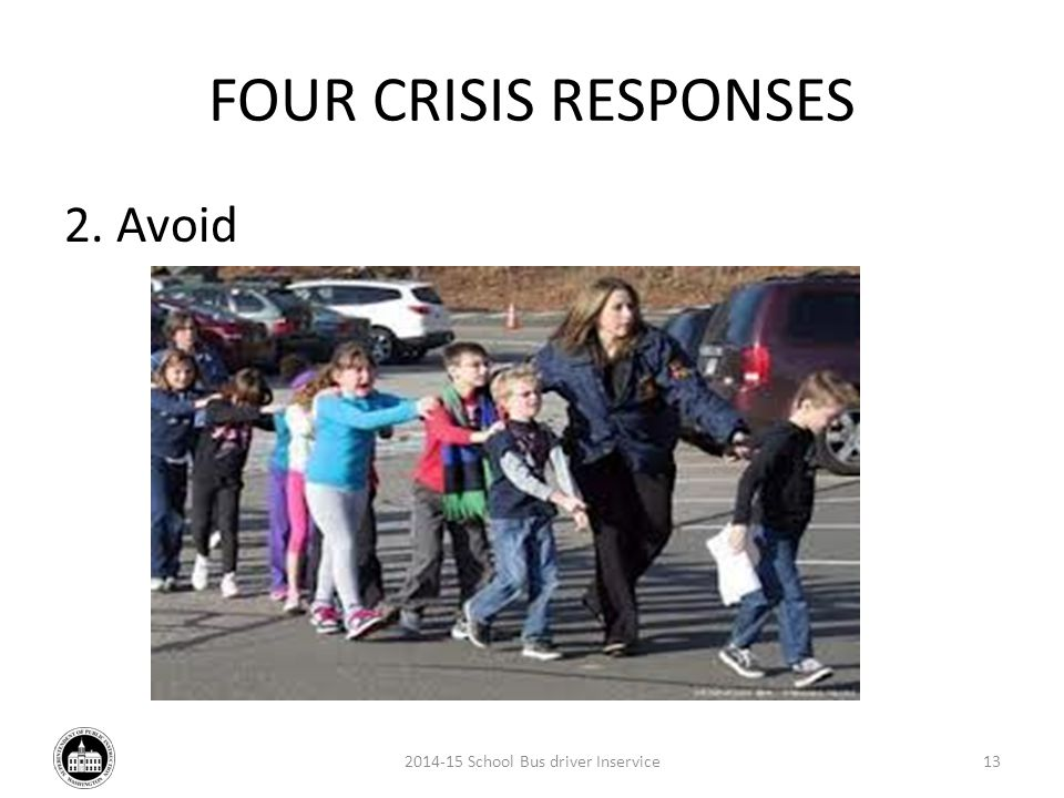 FOUR CRISIS RESPONSES 2. Avoid 2014-15 School Bus driver Inservice13
