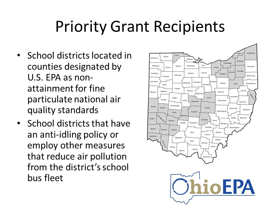Priority Grant Recipients School districts located in counties designated by U.S. EPA as non- attainment for fine particulate national air quality sta