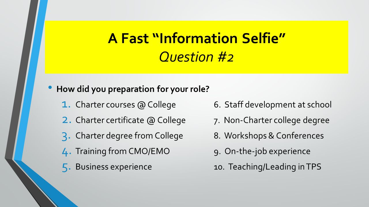 A Fast Information Selfie Question #2 How did you preparation for your role.