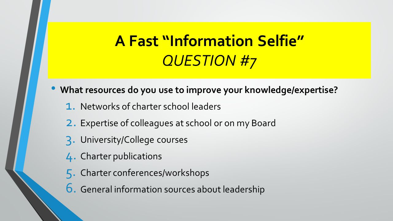 A Fast Information Selfie QUESTION #7 What resources do you use to improve your knowledge/expertise.
