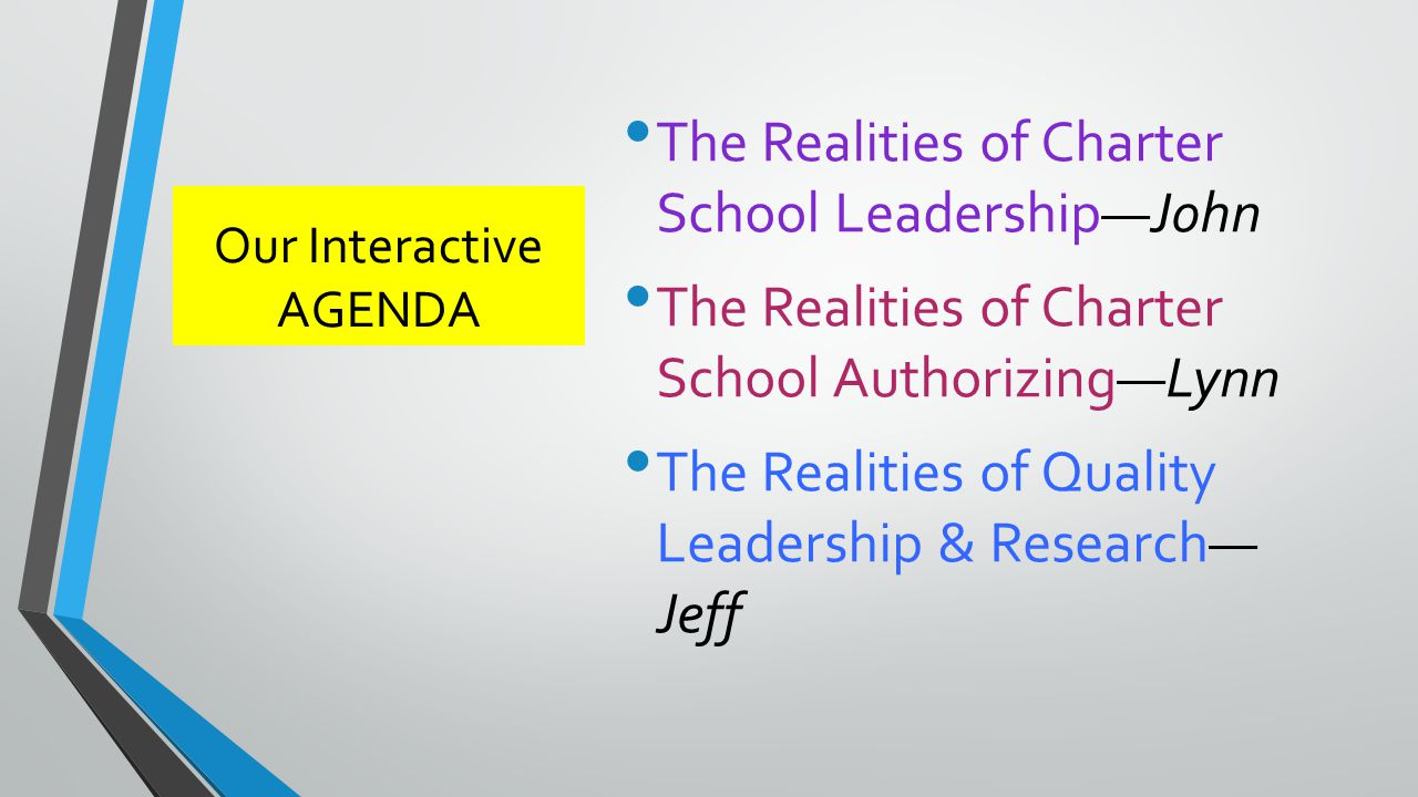 Our Interactive AGENDA The Realities of Charter School Leadership—John The Realities of Charter School Authorizing—Lynn The Realities of Quality Leadership & Research— Jeff
