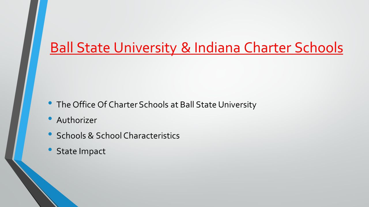 Ball State University & Indiana Charter Schools The Office Of Charter Schools at Ball State University Authorizer Schools & School Characteristics State Impact