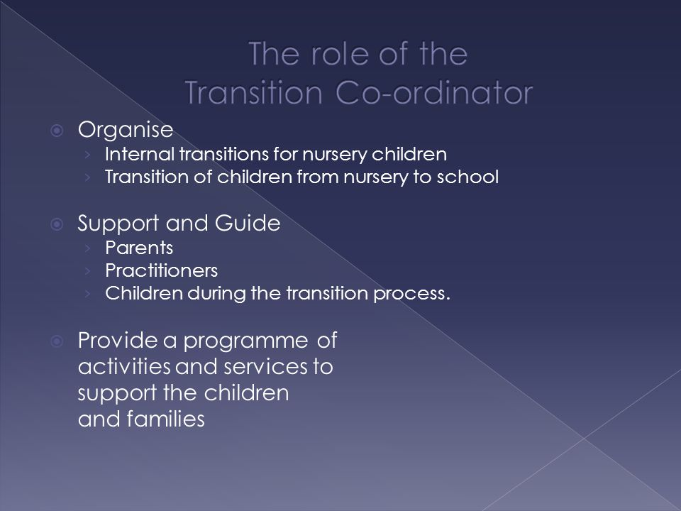  Organise › Internal transitions for nursery children › Transition of children from nursery to school  Support and Guide › Parents › Practitioners › Children during the transition process.