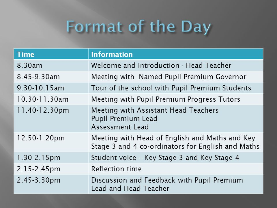 TimeInformation 8.30amWelcome and Introduction - Head Teacher 8.45-9.30amMeeting with Named Pupil Premium Governor 9.30-10.15amTour of the school with