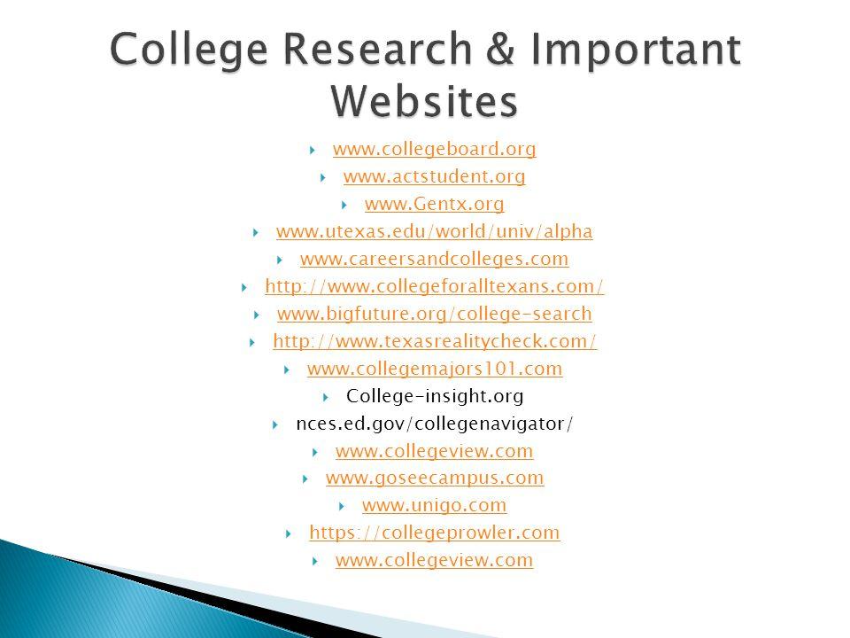  www.collegeboard.org www.collegeboard.org  www.actstudent.org www.actstudent.org  www.Gentx.org www.Gentx.org  www.utexas.edu/world/univ/alpha ww