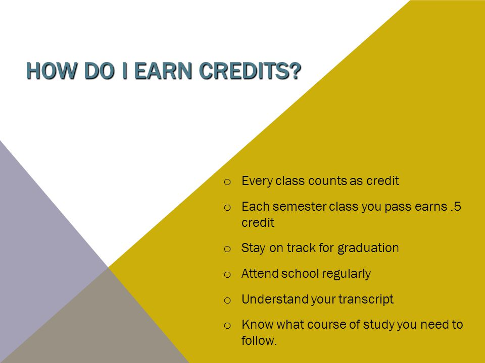 HOW DO I EARN CREDITS? o Every class counts as credit o Each semester class you pass earns.5 credit o Stay on track for graduation o Attend school reg