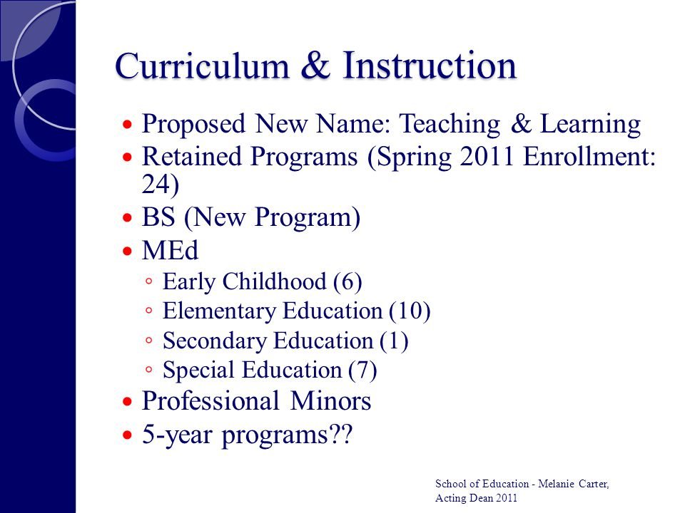 Curriculum & Instruction Proposed New Name: Teaching & Learning Retained Programs (Spring 2011 Enrollment: 24) BS (New Program) MEd ◦ Early Childhood (6) ◦ Elementary Education (10) ◦ Secondary Education (1) ◦ Special Education (7) Professional Minors 5-year programs?.