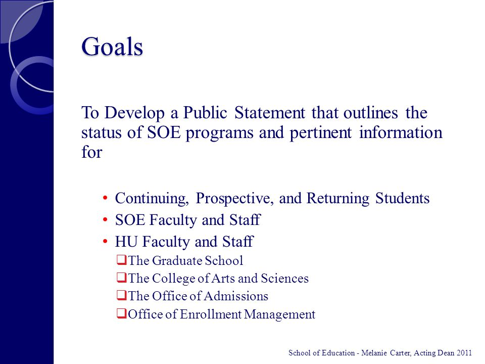 Goals To Develop a Public Statement that outlines the status of SOE programs and pertinent information for Continuing, Prospective, and Returning Students SOE Faculty and Staff HU Faculty and Staff  The Graduate School  The College of Arts and Sciences  The Office of Admissions  Office of Enrollment Management School of Education - Melanie Carter, Acting Dean 2011