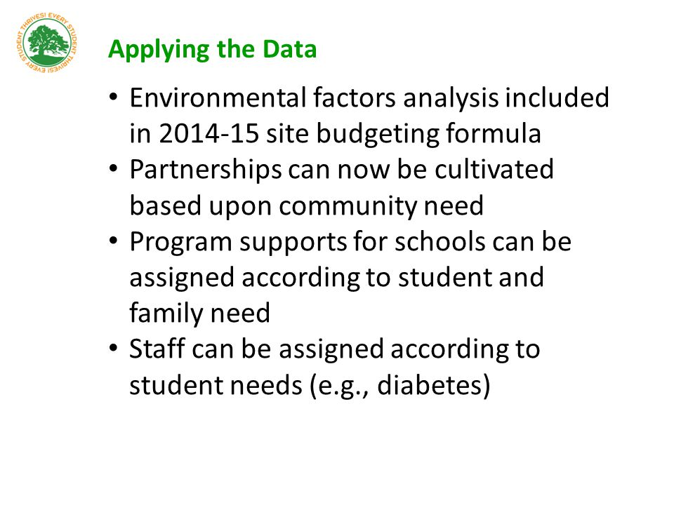 Applying the Data Environmental factors analysis included in 2014-15 site budgeting formula Partnerships can now be cultivated based upon community ne