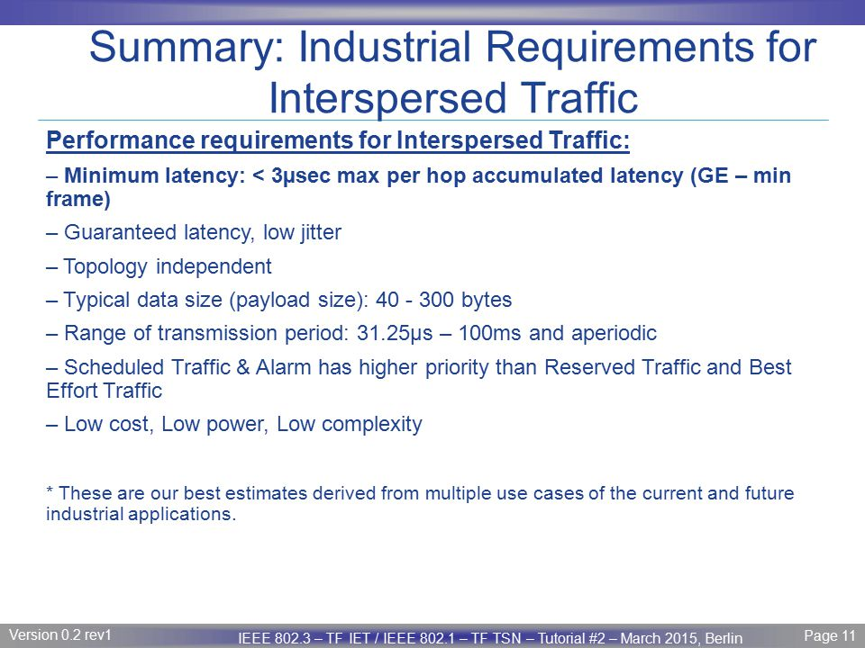 Page 11 IEEE P802.3 Maintenance report – July 2008 Plenary Version 1.0 Version 0.2 rev1 Page 11 IEEE 802.3 – TF IET / IEEE 802.1 – TF TSN – Tutorial #