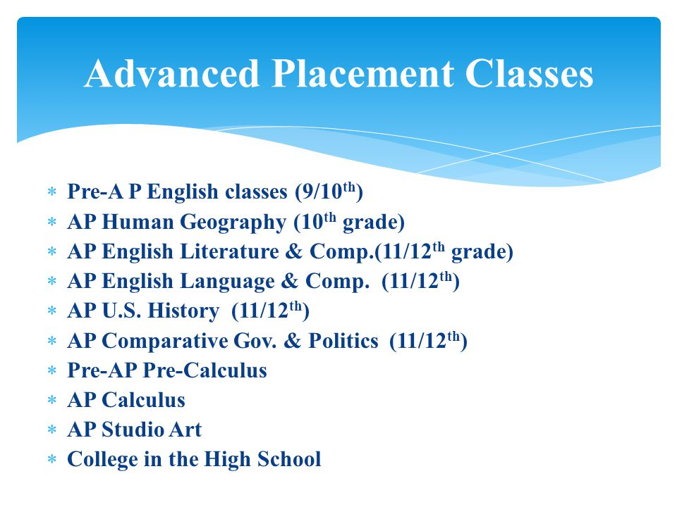  Pre-A P English classes (9/10 th )  AP Human Geography (10 th grade)  AP English Literature & Comp.(11/12 th grade)  AP English Language & Comp.