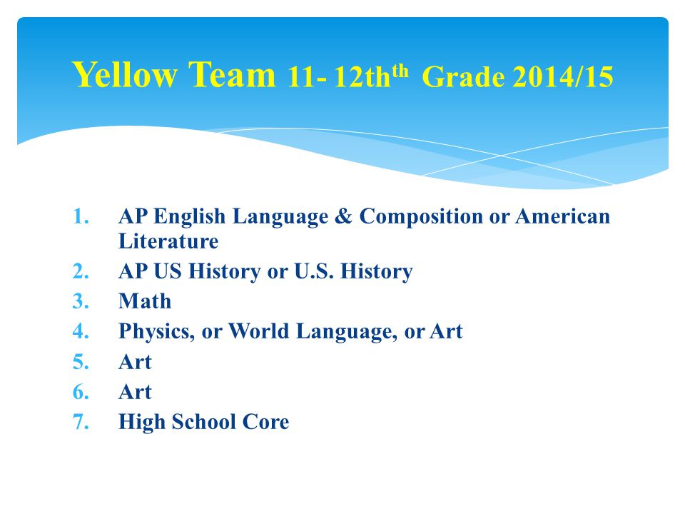 1.AP English Language & Composition or American Literature 2.AP US History or U.S.
