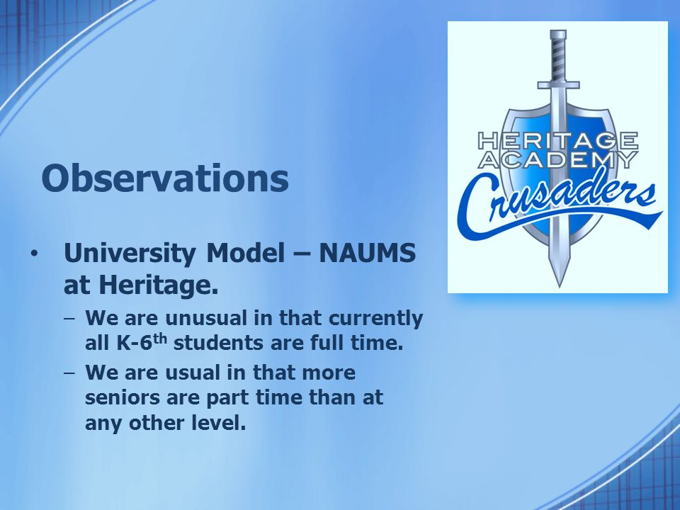 Observations University Model – NAUMS at Heritage. –We are unusual in that currently all K-6 th students are full time. –We are usual in that more sen
