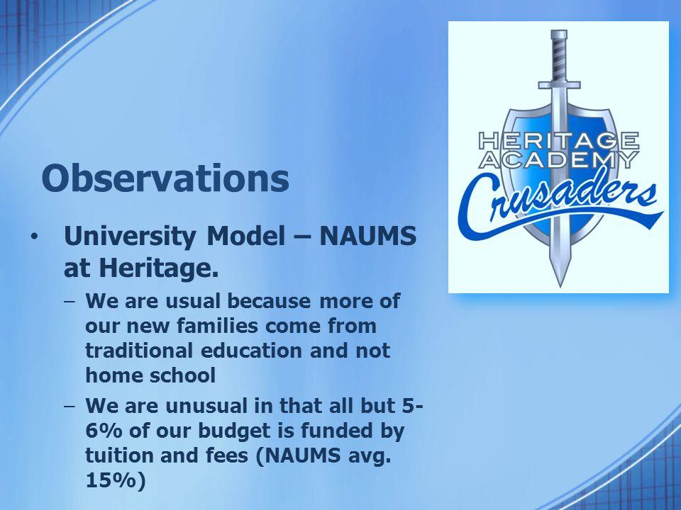 Observations University Model – NAUMS at Heritage.