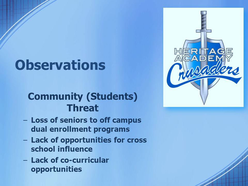 Observations Community (Students) Threat –Loss of seniors to off campus dual enrollment programs –Lack of opportunities for cross school influence –Lack of co-curricular opportunities