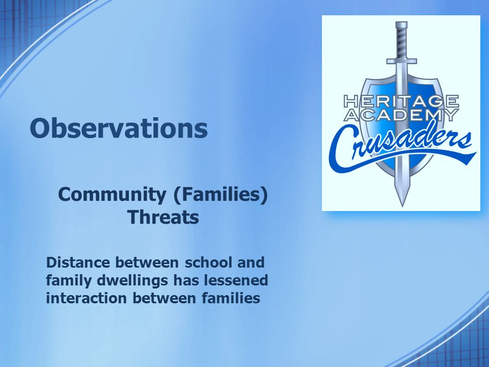 Observations Community (Families) Threats Distance between school and family dwellings has lessened interaction between families