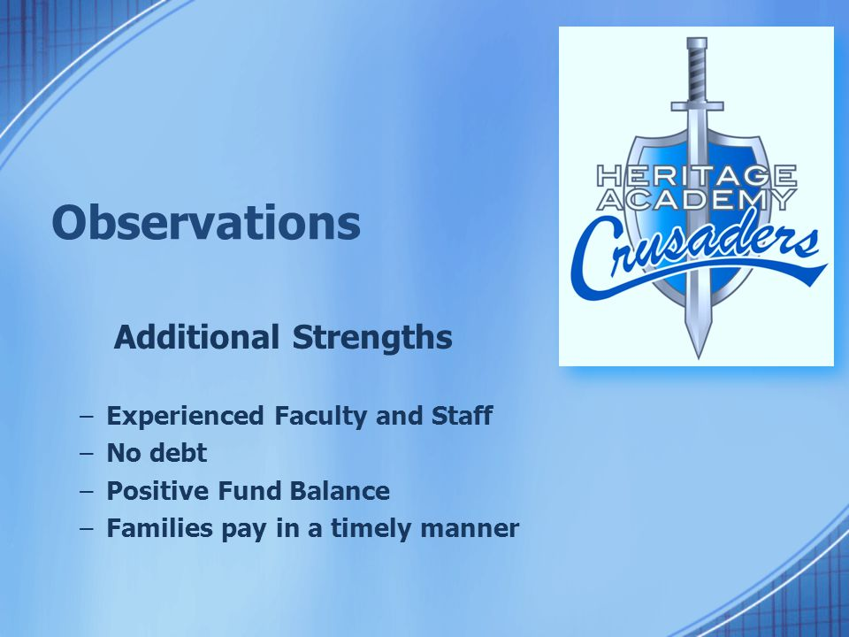 Observations Additional Strengths –Experienced Faculty and Staff –No debt –Positive Fund Balance –Families pay in a timely manner