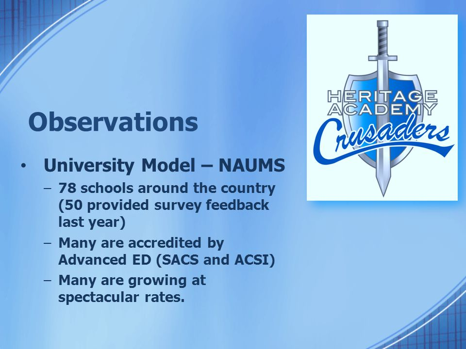 Observations University Model – NAUMS at Heritage.