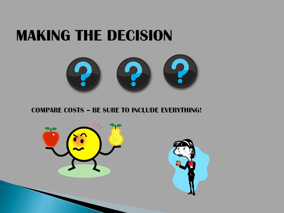 COMPARE COSTS – BE SURE TO INCLUDE EVERYTHING! MAKING THE DECISION